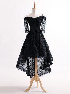 Black Lace Up Straps Lace Club Wear Tulle Half Sleeves