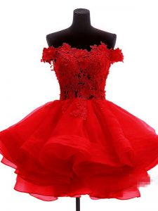 Amazing Off The Shoulder Sleeveless Cocktail Dress Mini Length Lace and Appliques and Ruffles Red Organza