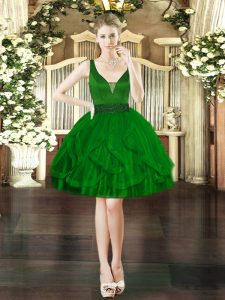Cheap Sleeveless Tulle Mini Length Lace Up Cocktail Dress in Dark Green with Beading and Ruffles