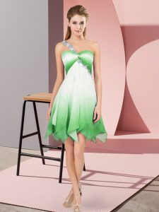 Simple Sleeveless Beading Lace Up Cocktail Dress