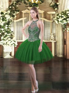 Dark Green Lace Up Halter Top Beading Cocktail Dresses Tulle Sleeveless