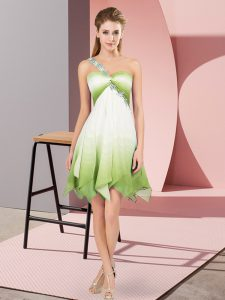 Artistic Sleeveless Lace Up Asymmetrical Beading Cocktail Dress