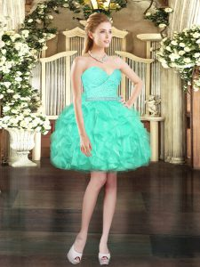 Dynamic Mini Length Lace Up Cocktail Dress Aqua Blue for Prom and Party with Beading and Lace and Ruffles