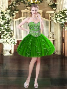 Ideal Dark Green Lace Up Sweetheart Beading and Ruffles Cocktail Dresses Organza Sleeveless