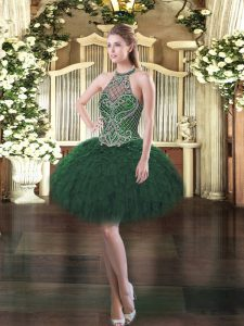 Enchanting Sleeveless Organza Mini Length Lace Up Cocktail Dresses in Dark Green with Beading and Ruffles