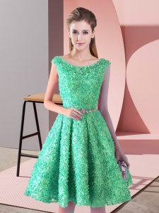 Smart Knee Length Lace Up Cocktail Dresses Turquoise for Prom and Party with Belt