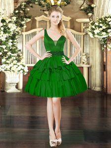 Sleeveless Taffeta Mini Length Lace Up Cocktail Dresses in Dark Green with Beading