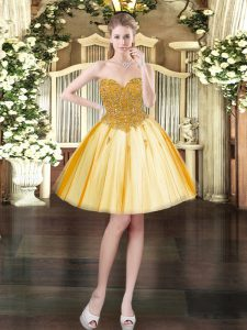 Sweetheart Sleeveless Tulle Cocktail Dresses Beading Lace Up