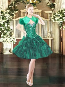 Fashion Sweetheart Sleeveless Lace Up Cocktail Dress Dark Green Organza