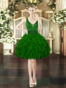 Perfect Dark Green Sleeveless Beading and Ruffles Mini Length Cocktail Dresses