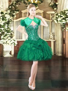 New Style Dark Green Organza Lace Up Sweetheart Sleeveless Mini Length Cocktail Dresses Beading and Ruffles