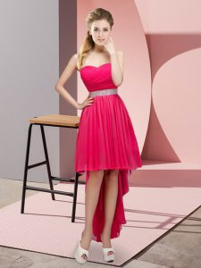 Hot Pink Sweetheart Lace Up Beading Cocktail Dresses Sleeveless