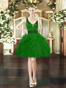 Deluxe Tulle V-neck Sleeveless Lace Up Beading and Ruffles Cocktail Dresses in Dark Green