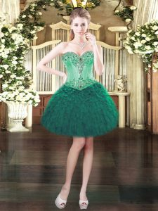 Exquisite Mini Length Lace Up Cocktail Dresses Dark Green for Prom and Party with Beading and Ruffles
