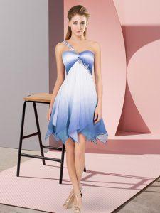 Glorious Fading Color One Shoulder Sleeveless Lace Up Beading Cocktail Dresses in Multi-color