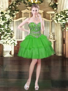 Gorgeous Organza Sweetheart Sleeveless Lace Up Beading and Ruffled Layers Cocktail Dress in Green