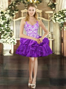 Trendy Purple Ball Gowns Organza Straps Sleeveless Beading and Ruffles Mini Length Lace Up Cocktail Dresses