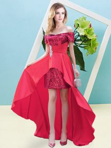 Coral Red Off The Shoulder Lace Up Beading Cocktail Dresses Long Sleeves