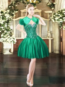 Dark Green Ball Gowns Sweetheart Sleeveless Satin Mini Length Lace Up Beading Cocktail Dress
