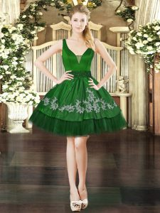 Dark Green Organza and Taffeta Lace Up V-neck Sleeveless Mini Length Cocktail Dress Beading and Appliques