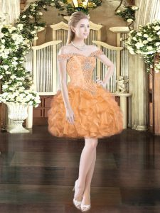 Sexy Mini Length Lace Up Club Wear Orange Red for Prom and Party with Beading and Ruffles
