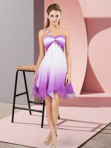 Inexpensive Empire Cocktail Dresses Multi-color One Shoulder Fading Color Sleeveless Asymmetrical Lace Up
