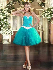 Fabulous Sweetheart Sleeveless Lace Up Cocktail Dresses Aqua Blue Tulle