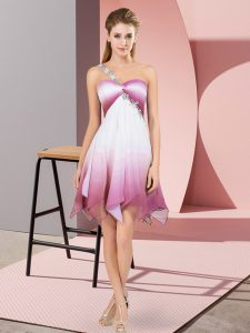 Discount Multi-color Empire Fading Color One Shoulder Sleeveless Beading Asymmetrical Lace Up Cocktail Dresses