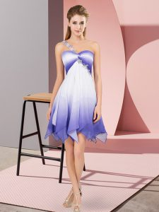 Multi-color Lace Up One Shoulder Beading Cocktail Dresses Fading Color Sleeveless