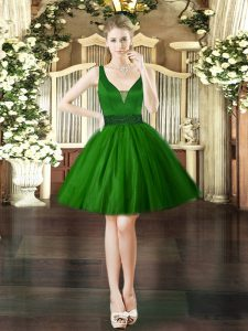 Dark Green Sleeveless Beading Mini Length Club Wear