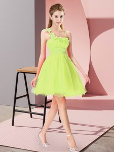 Sleeveless Organza Mini Length Zipper Cocktail Dress in Yellow Green with Beading and Hand Made Flower