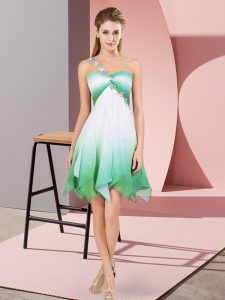 Designer Multi-color Sleeveless Asymmetrical Beading Lace Up Club Wear