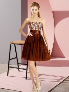 Brown Sleeveless Chiffon Zipper Club Wear for Prom and Party
