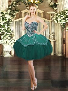 Dark Green Ball Gowns Beading and Embroidery Cocktail Dresses Lace Up Satin and Tulle Sleeveless Mini Length