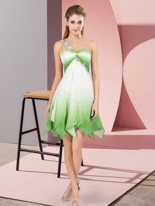 Extravagant Asymmetrical Multi-color Club Wear One Shoulder Sleeveless Lace Up