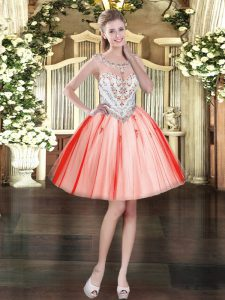 Hot Selling Tulle Sleeveless Mini Length Club Wear and Beading and Appliques