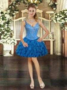 Royal Blue Ball Gowns Organza V-neck Sleeveless Beading and Ruffles Mini Length Lace Up Cocktail Dresses