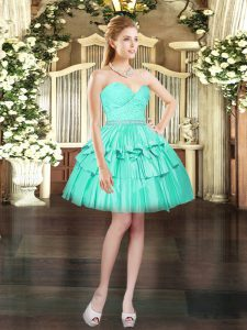Trendy Aqua Blue Sweetheart Neckline Beading and Lace Cocktail Dress Sleeveless Lace Up