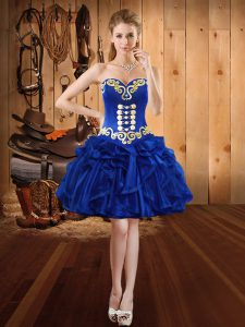 Royal Blue Ball Gowns Organza Sweetheart Sleeveless Embroidery and Ruffles Mini Length Lace Up Cocktail Dresses