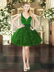 Organza V-neck Sleeveless Lace Up Beading and Ruffles Cocktail Dresses in Dark Green
