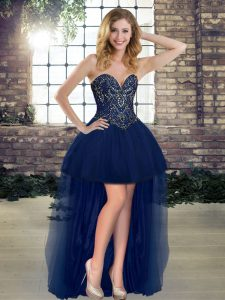 Smart Navy Blue A-line Beading Cocktail Dresses Lace Up Tulle Sleeveless High Low