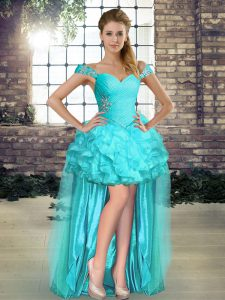 Custom Fit High Low Aqua Blue Cocktail Dress Organza Sleeveless Beading and Ruffles
