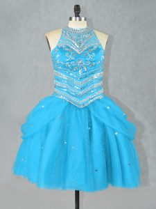 Dynamic Sleeveless Tulle Mini Length Lace Up Cocktail Dresses in Aqua Blue with Beading