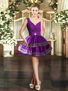 Sleeveless Mini Length Embroidery Backless Cocktail Dress with Purple