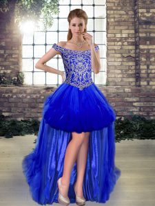 Popular Royal Blue Sleeveless Beading High Low Cocktail Dresses