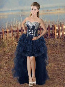 Romantic Navy Blue A-line Organza Sweetheart Sleeveless Beading and Ruffled Layers High Low Lace Up Cocktail Dresses
