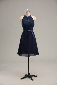 Comfortable Navy Blue Backless Club Wear Lace and Appliques Sleeveless Mini Length