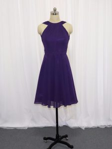 Purple Chiffon Backless Cocktail Dresses Sleeveless Knee Length Ruching