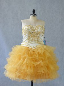 Fitting Yellow Lace Up Sweetheart Beading and Ruffles Cocktail Dresses Tulle Sleeveless