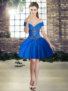 Tulle Off The Shoulder Sleeveless Lace Up Beading Club Wear in Royal Blue